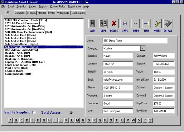 Hardware Asset Tracker Screenshot
