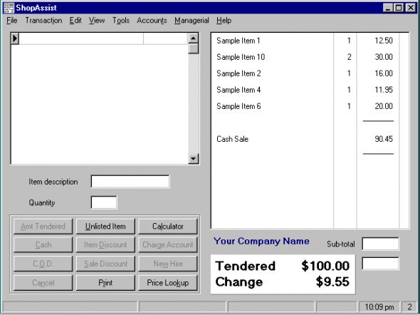 ShopAssist Point Of Sale System Screenshot