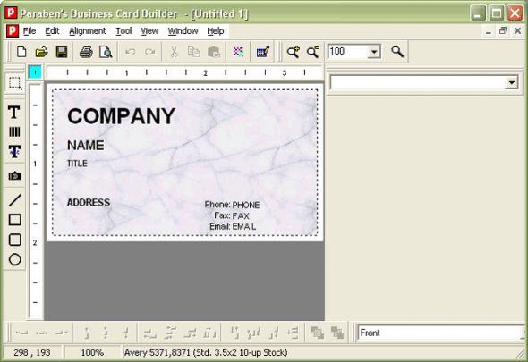 Paraben's Business Card Builder Screenshot
