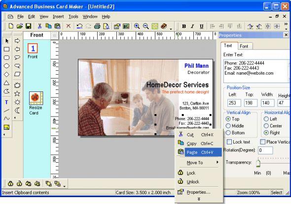 Advanced Business Card Maker Screenshot