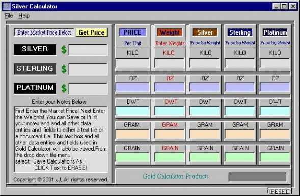 Silver Calculator Screenshot