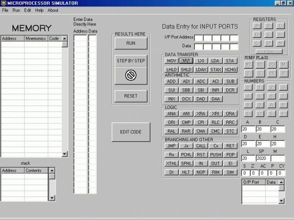 8085 Simulator Screenshot