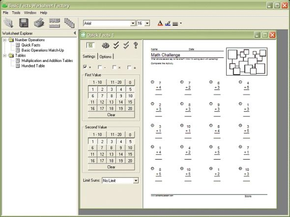 Basic Facts Worksheet Factory Screenshot