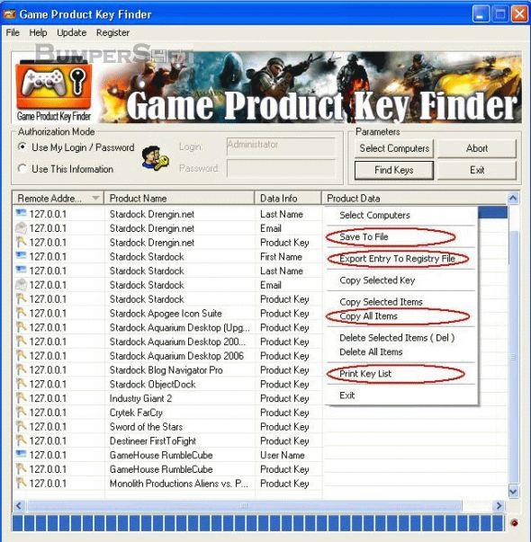 Game Product Key Finder Screenshot