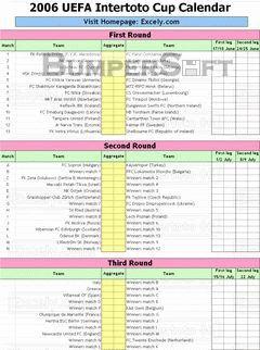 UEFA Intertoto Cup Calendar Screenshot