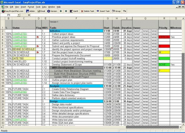 EasyProjectPlan (Excel Project Plan Template) Screenshot