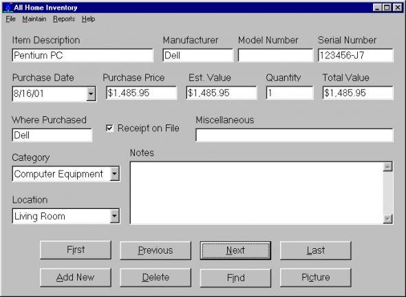 All Home Inventory Screenshot