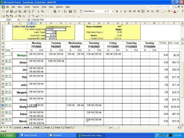 Employee Scheduler for Excel and OpenOffice Screenshot