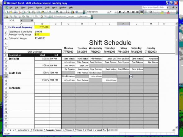 Employee Shift Scheduler for Excel Screenshot