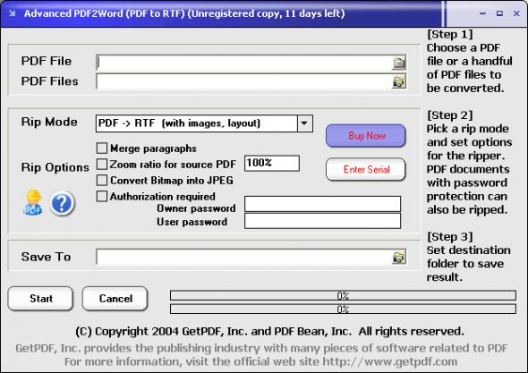 Advanced PDF2Word (PDF to RTF) Screenshot
