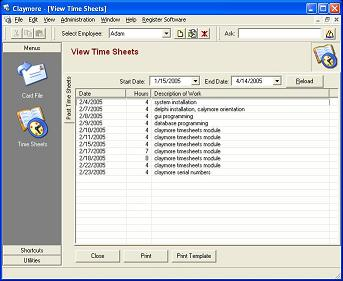 Claymore Time Sheets Screenshot