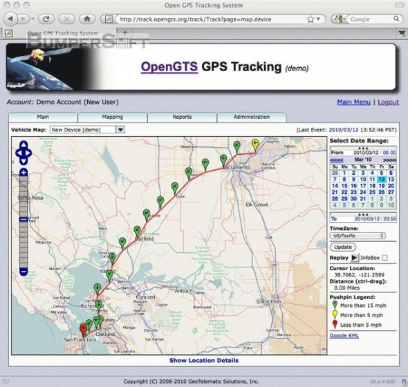 Open GPS Tracking System (OpenGTS) Screenshot