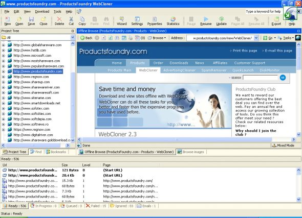 WebCloner Pro Offline Browser Screenshot