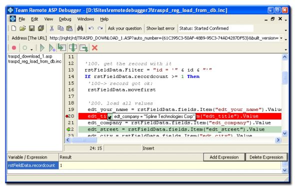 Team Remote ASP Debugger Screenshot