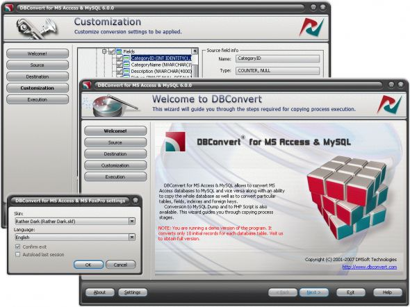 DBConvert for MS Access & MySQL Screenshot