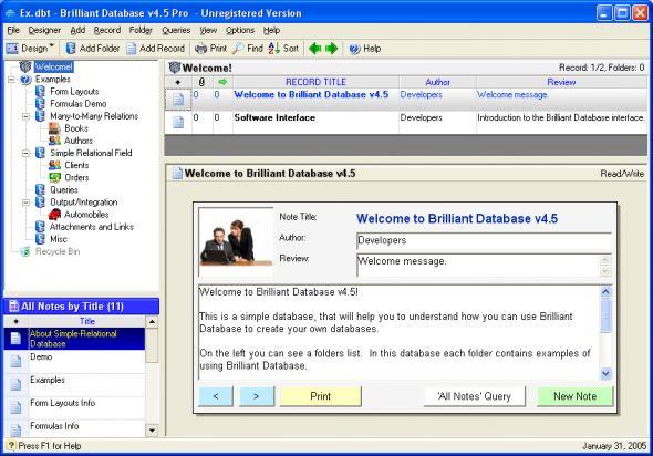 Brilliant Database Professional Screenshot