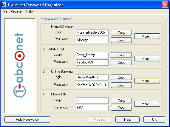 1-abc.net Password Organizer Screenshot