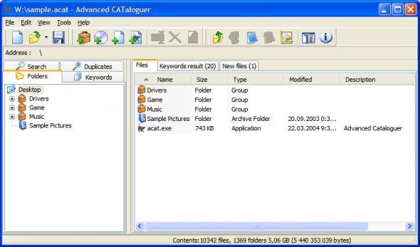 Advanced CATaloguer Screenshot