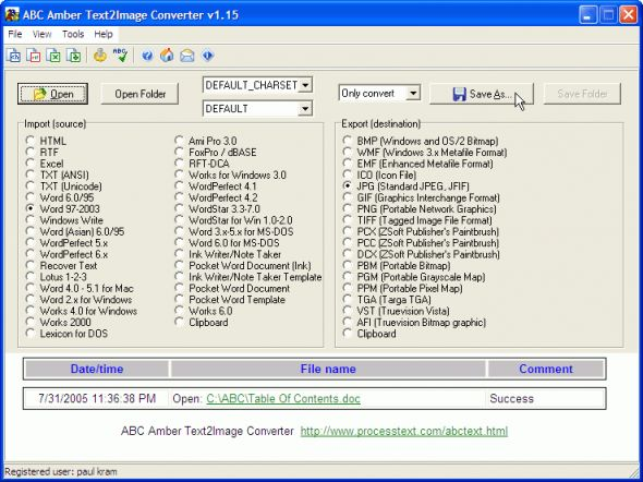 ABC Amber Text2Image Converter Screenshot