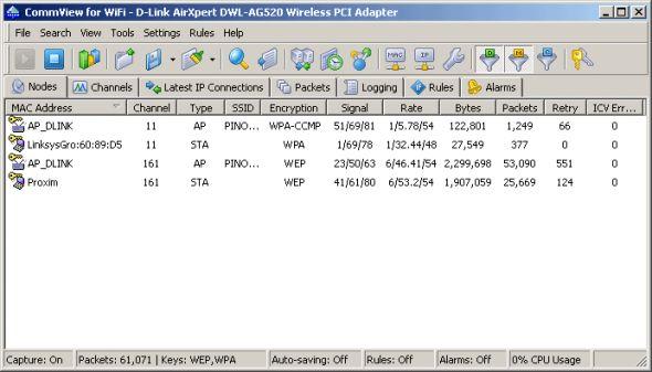 CommView for WiFi Screenshot