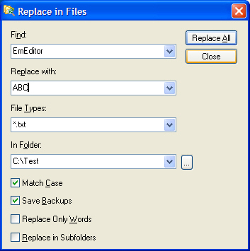 Replace in Files Screenshot