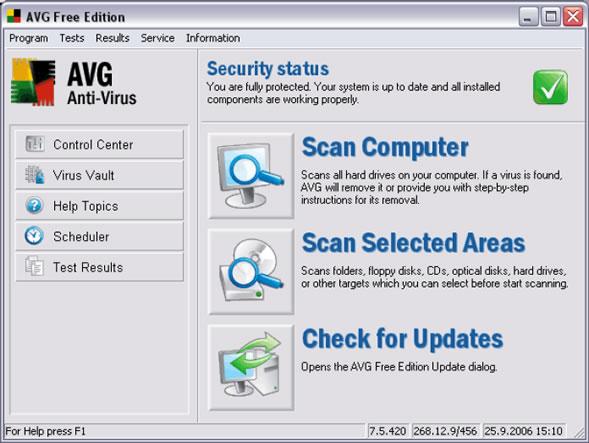 AVG Anti-Virus Free Edition Screenshot