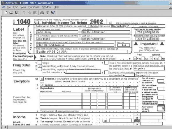 AnyForm Forms Software Screenshot
