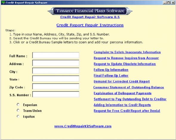 Credit Report Repair Software Screenshot
