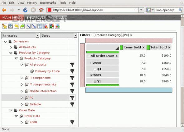OpenERP (formerly Tiny ERP) Screenshot